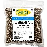 GERBS Unsalted Whole Hemp Seeds, 32 ounce Bag, Roasted, Top 14 Food Allergy Free, Non GMO, Vegan, Keto, Paleo Friendly