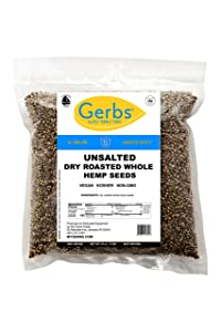 Gerbs Roasted Unsalted Whole Hemp Seeds, 2 LBS - Top 14 Food Allergy Free & Non GMO - Vegan, Keto Safe & Kosher – Premium Canadian In-Shell Hemp Seeds