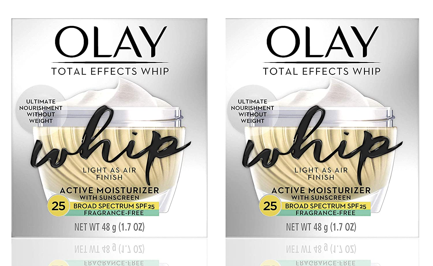 (PACK of 2) ΟΙay TOTAL EFFECTS WHIP, Active Moisturizer - FRAGRANCE FREE - with SUNSCREEN Broad Spectrum SPF 25-1.7 Oz (48 g) EACH - Light as Air Finish
