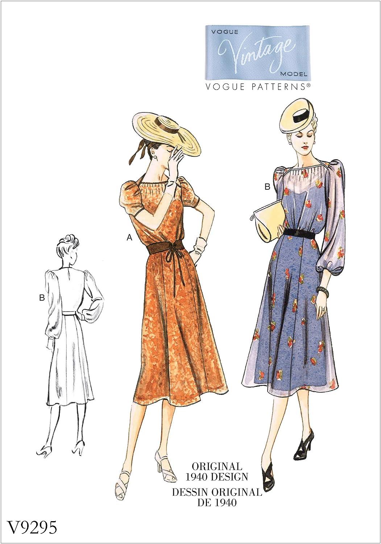 mehrfarbig Gr/ö/ßen 14 22 Tissue Vogue Mustern 9200/E5/Damen Kleid