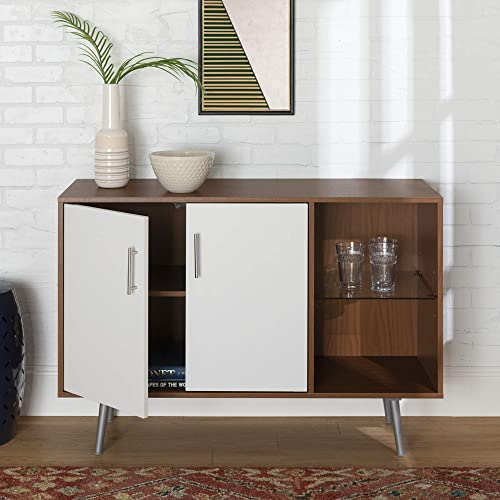 Walker Edison Mid Century Modern Universal Stand for TV s up to 50 Living Room Storage Entertainment Center, 44 Inch, Brown