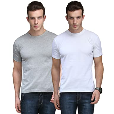 31fad7d14 CNMN Scottish Polo Men's Basic Round Neck Half Sleeves Solid T-Shirts -  Pack of
