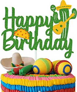 Cactus Cake Topper Happy Birthday Sign Taco Maracas Mexican Cinco De Mayo Theme for Kids Baby Boy Girl Birthday Party Supplies Double Sided Green Sparkle Decor