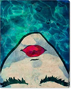 "Amazon Brand – Rivet Red Lips in the Blue Water Print Wall Art Decor, 20"" x 24"""