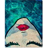 """Amazon Brand – Rivet Red Lips in the Blue Water Print Wall Art Decor, 24"""" x 28"""""""