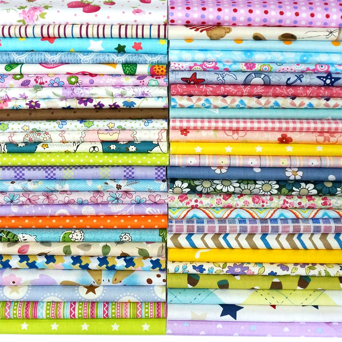 Quilting Fabric, Misscrafts 50pcs 12'' x 12'' (30cm x 30cm) Cotton Craft Fabric Bundle Patchwork Pre-Cut Quilt Squares for DIY Sewing Scrapbooking Quilting Dot Pattern
