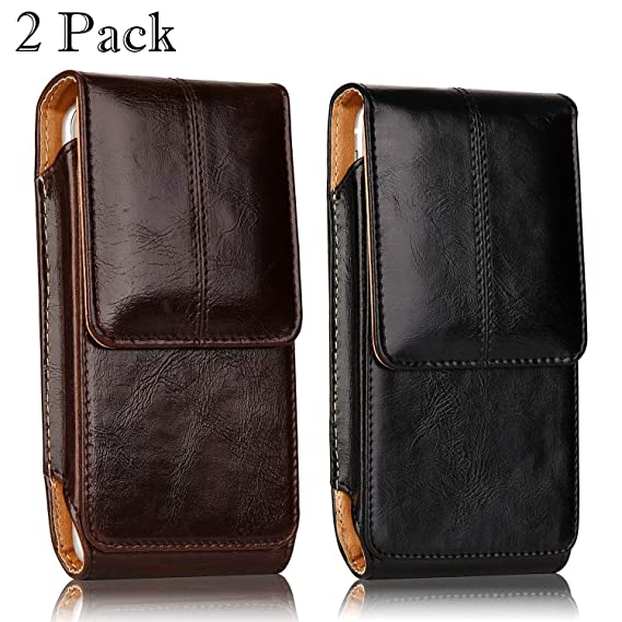 innovative design 02657 d83cb 2 Pack iPhone 8 Plus Pouch Case, iNNEXT Real Leather Vertical Holster Belt  Clip Carrying Case Pouch with Magnetic Closure for iPhone 7 Plus/iPhone 6S  ...