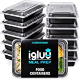 Igluu Meal Prep Containers [10 pack] 1 Compartment with Airtight Lids - Plastic Food Storage Bento Box - BPA Free - Reusable