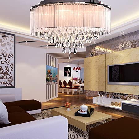 Oofay light modern crystal ceiling light in cylinder shade with oofay light modern crystal ceiling light in cylinder shade with crystal drop flush mount for mozeypictures Gallery