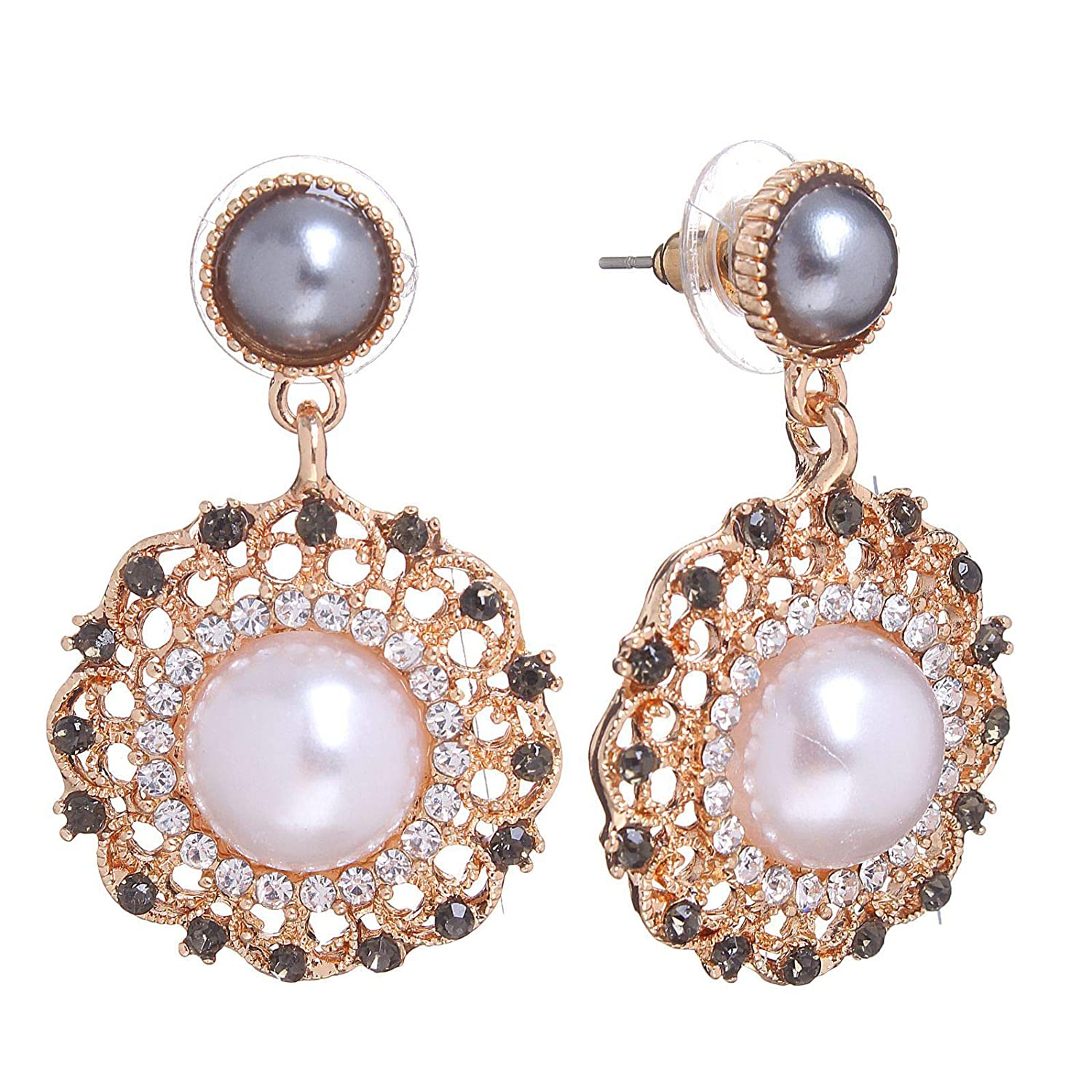 Sparkle Drop Earrings Faux Pearl Studs Round Crystal Charms Pierced Ear Dangles
