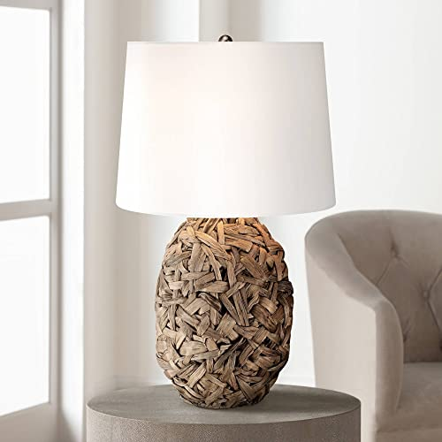 Nantucket Tropical Table Lamp Natural Seagrass White Drum Shade for Living Room Family Bedroom Bedside Nightstand Office – 360 Lighting