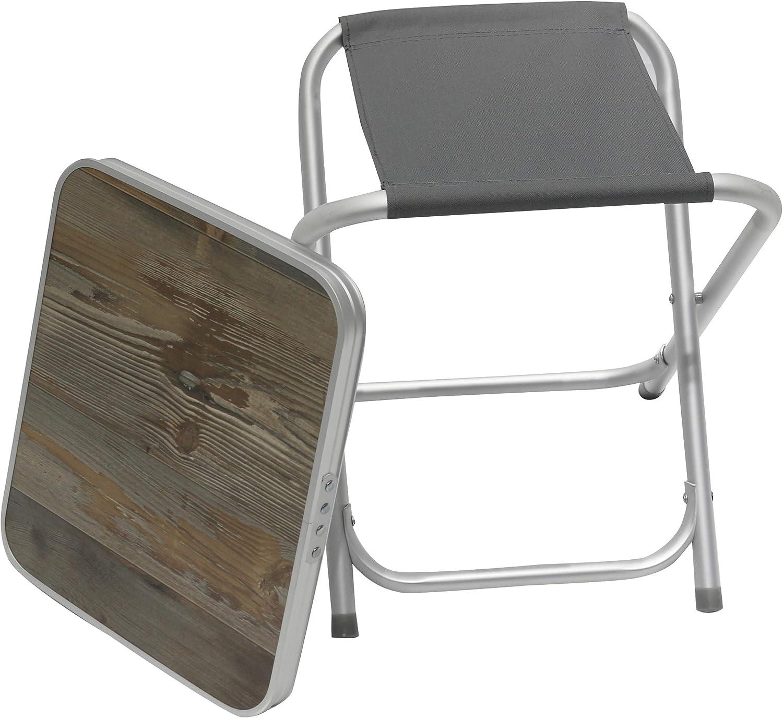 Homecall Tabouret de camping pliable en aluminium Gris avec partie sup/érieure en panneau MDF