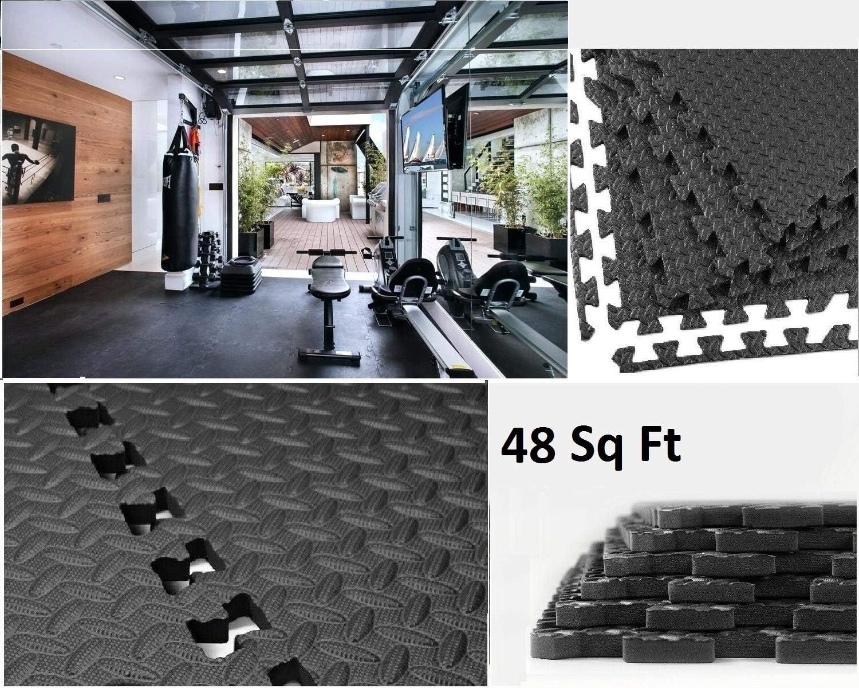 Sizi Ltd 48Sq Ft Gym Flooring Large Black Garage Floor Mats Interlocking Eva Foam 12 Mat Tiles