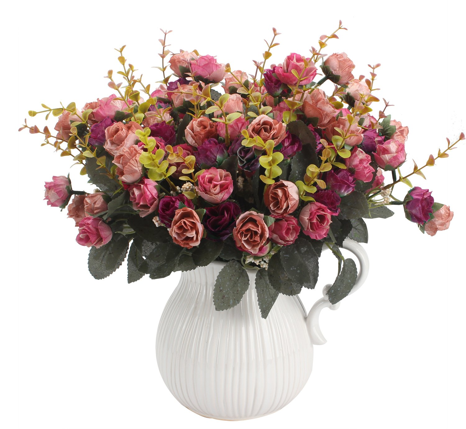 Duovlo 7 Branch 21 Heads Artificial Flowers Bouquet Mini Rose Wedding Home Office Decor,Pack of ...