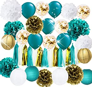 Furuix Teal Gold Teal Gold Birthday Party Decorations Gold Confetti Latex Balloons Teal Balloons Tissue Pom Poms Tassel Garland Gold Teal Baby Shower Wedding Bridal Shower Decorations Teal Engagement