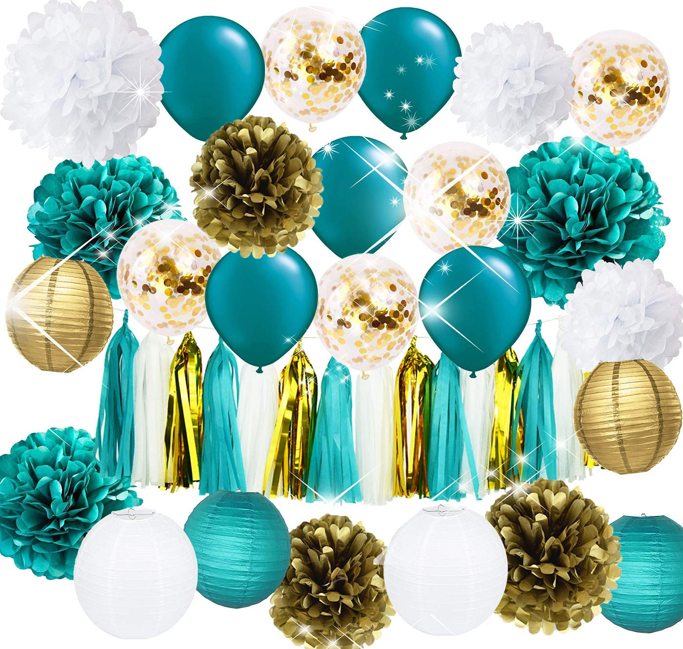 Teal Gold and Gold Confetti Latex Balloons Teal Balloons Tissue Pom Poms Lanterns Tassel Garland Gold and Teal Baby Shower Wedding Bridal Shower Teal Engagement/Teal Gold Birthday Party Decorations by Furuix