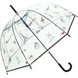 SMATI Stick Clear Umbrella - Windproof - Birdcage Dome See Through (Flowers Stripe Stars Dog Cat)