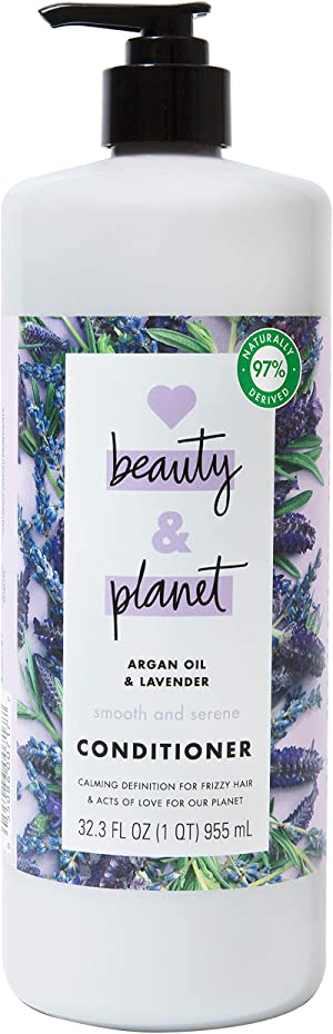 Love Beauty And Planet Smooth and Serene Dry Hair Conditioner for Frizz Control Argan Oil & Lavender Paraben Free, Silicone Free and Vegan Dry Hair Treatment 32.3 oz