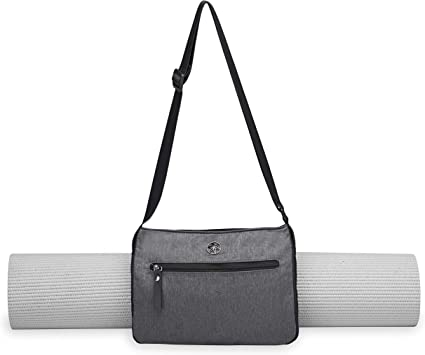 Gaiam Yoga Mat Bag Wander Free Yoga Mat Carrier Pouch Tote Adjustable Shoulder Sling Carrying Strap Two Zippered Pockets Easy Clean Liner