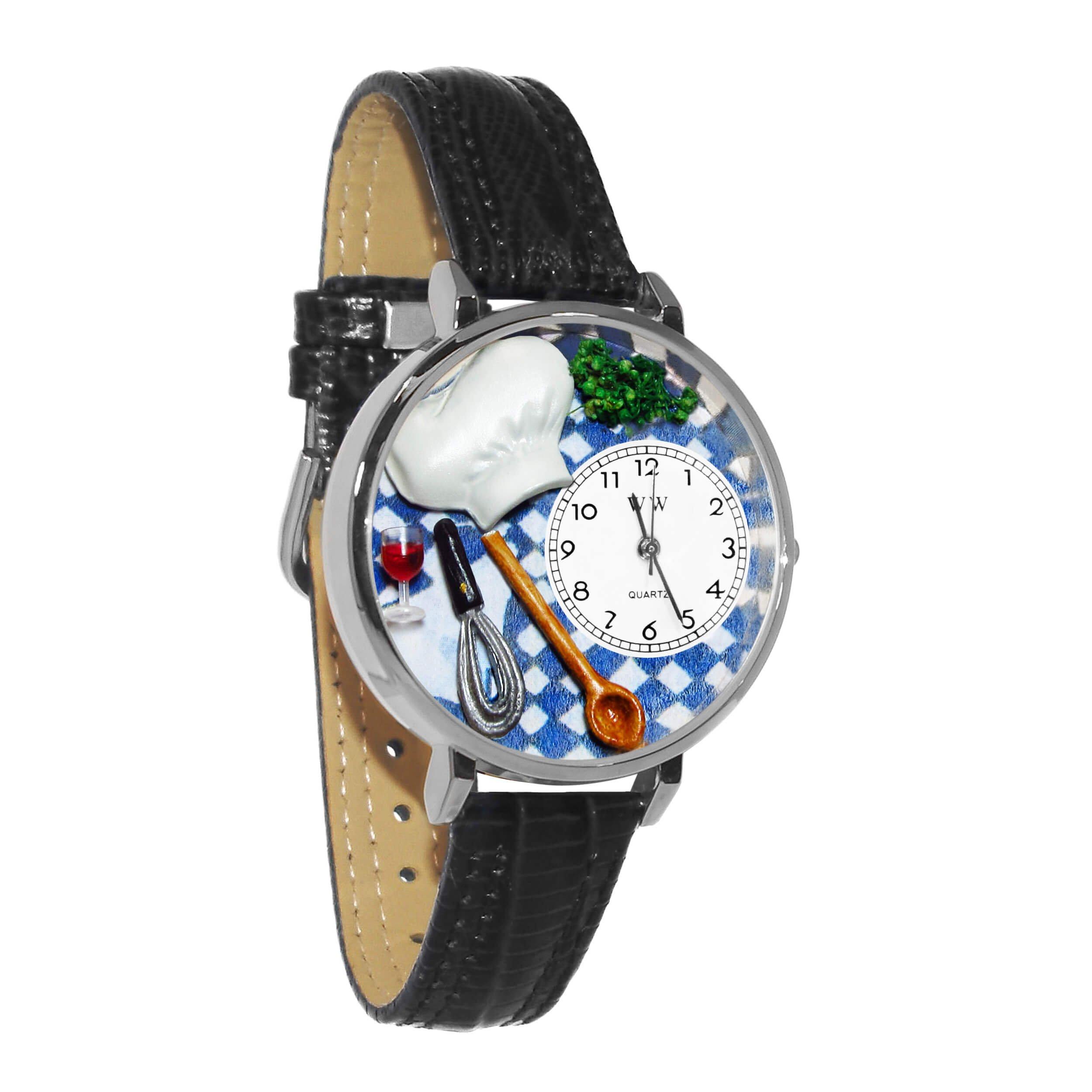 Whimsical Watches Unisex U0310002 Chef Black Skin Leather Watch