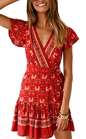 3f45439fbe ECOWISH Women Bohemian Vintage Printed Ethnic Style Dress V Neck Short  Sleeves Mini Dress Red02 S