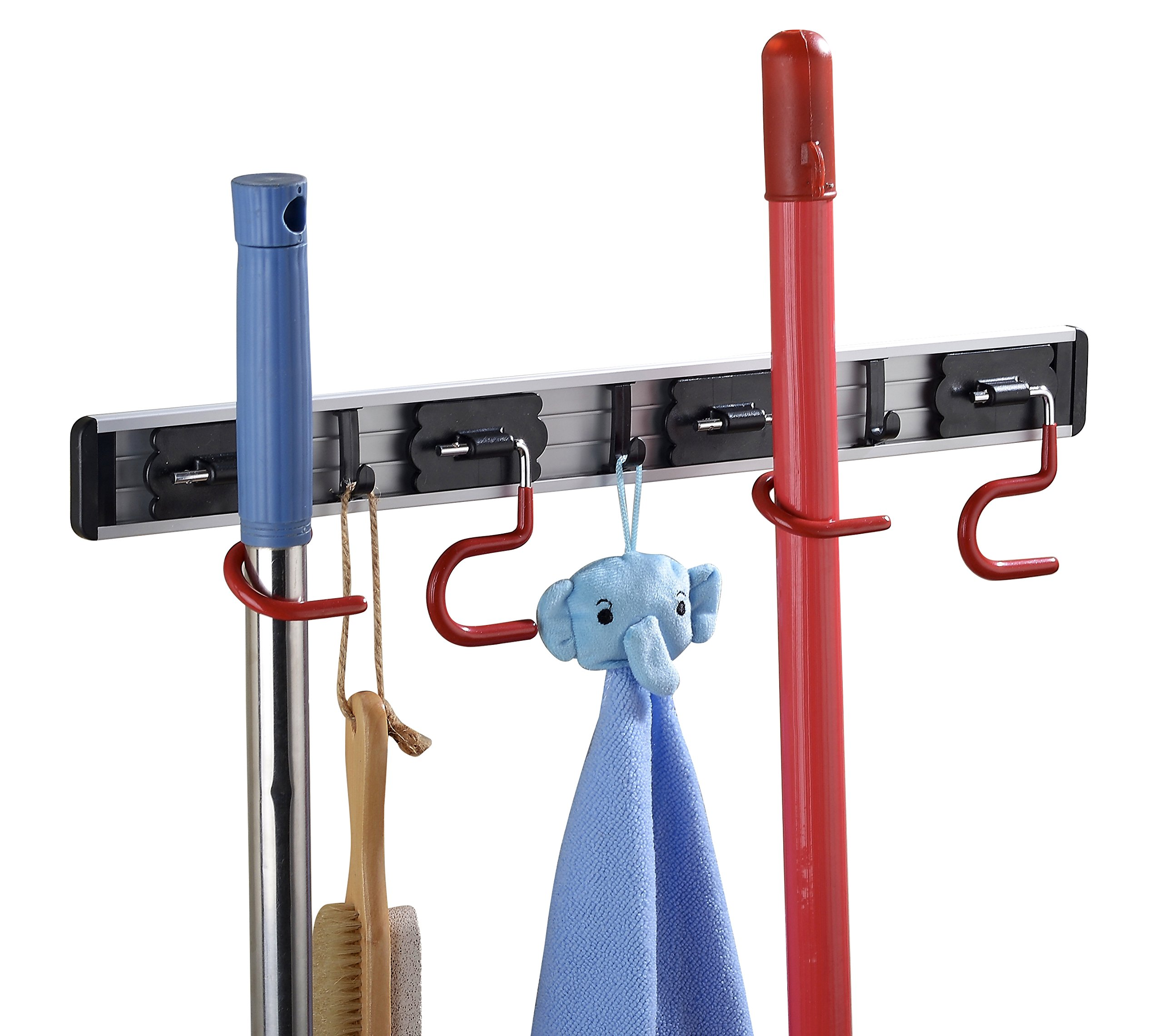 Cavoli Mop Broom Holder Wall Mounted S Type,Garage Storage Holds Up to 7 Tools and Over 50 pounds 17.5 Inches,Base Made by Aluminum Metal (4 Positions and 3 Hooks)