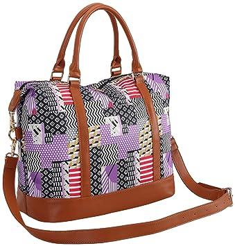 babf585f39f Amazon.com   Women Ladies Weekender Bag Overnight Carry-on Tote Duffel in Trolley  Handle (Purple Blocks)   Carry-Ons