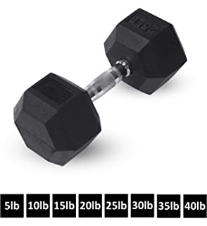 Rubber Hex Dumbbells by Day 1 Fitness – 8 Sizes Available, 5-40 Pounds