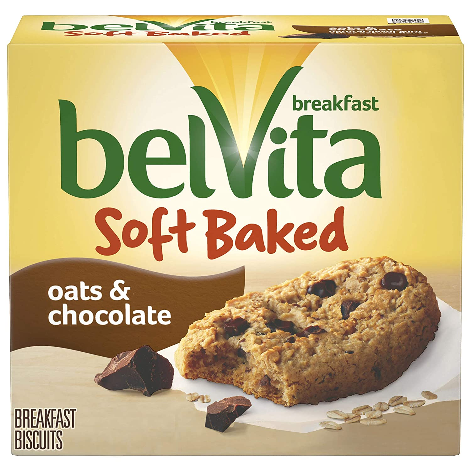 belVita Soft Baked Oats & Chocolate Breakfast Biscuits, 5 Packs (1 Biscuit Per Pack)
