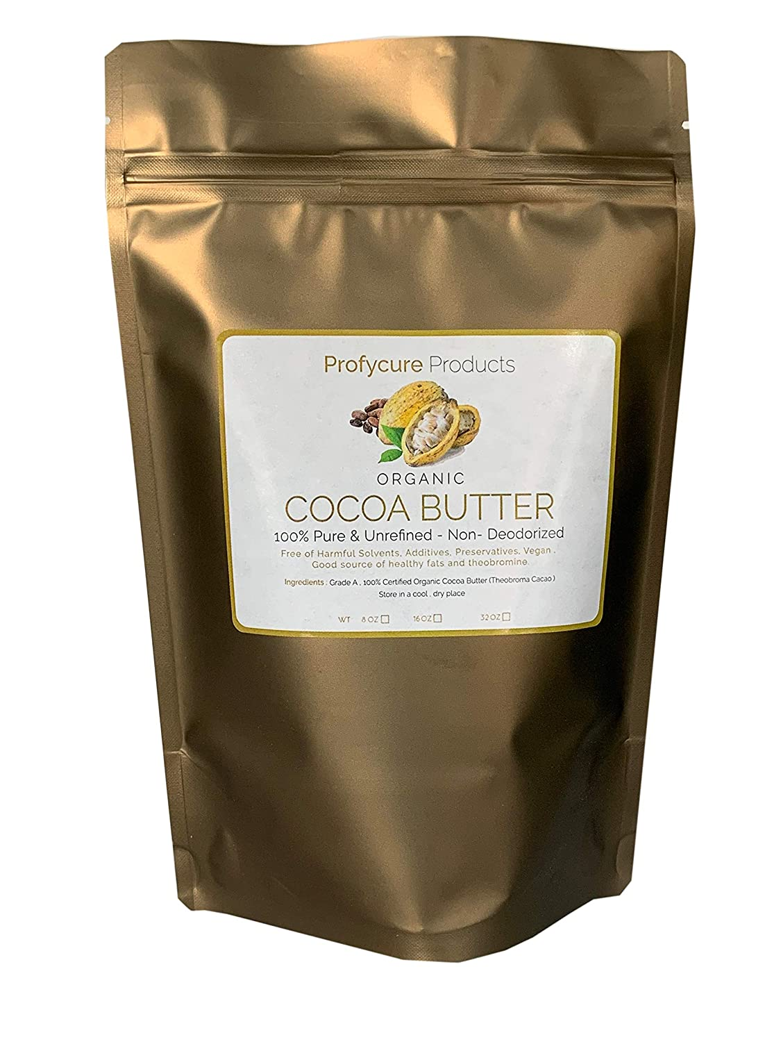 Organic Cocoa butter 8 Oz (1/2 Lb) Food grade Raw cacao butter with organic certificate
