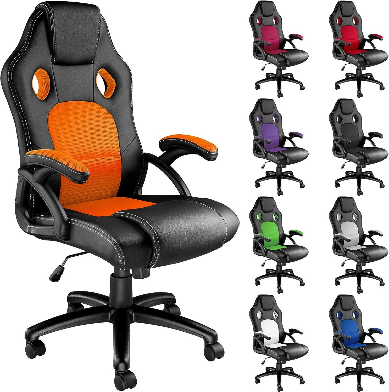 TecTake Poltrona Sedia Direzionale da Ufficio Racer Classe Disponibile in Diversi Colori (Nero Arancione)