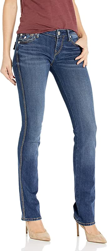 True Religion Women's Billie Big T Mid Rise Straight Leg fit Jean with Back Flap Pockets