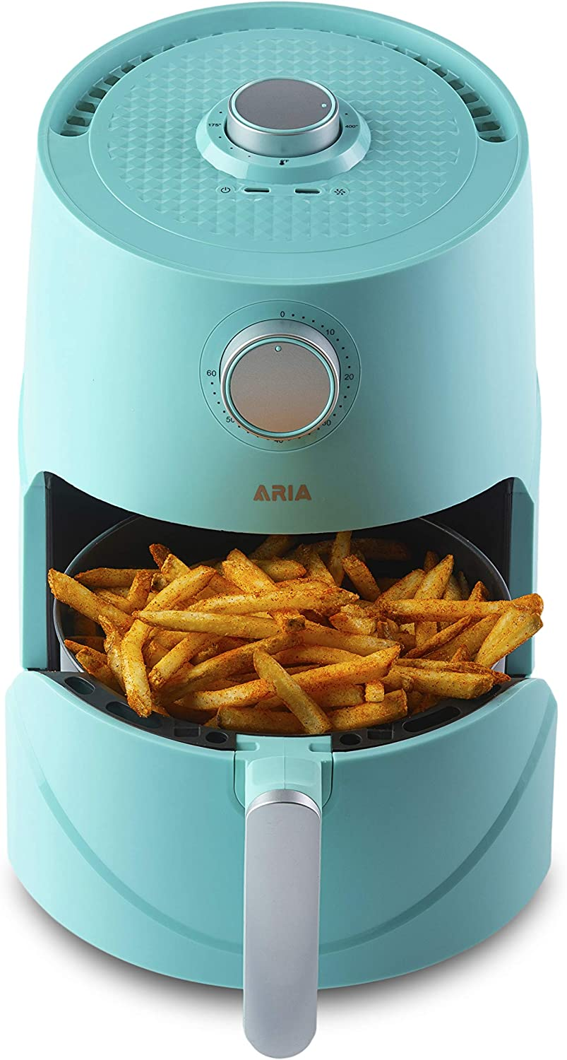 Aria Teflon-Free 3Qt Premium Ceramic Air Fryer with Recipe Book including Vegan and Keto Meals - Seafoam Teal