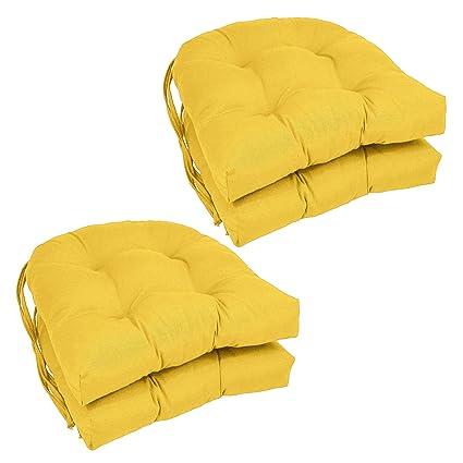 Blazing Needles Solid Twill U Shaped Tufted Chair Cushions (Set Of 4),