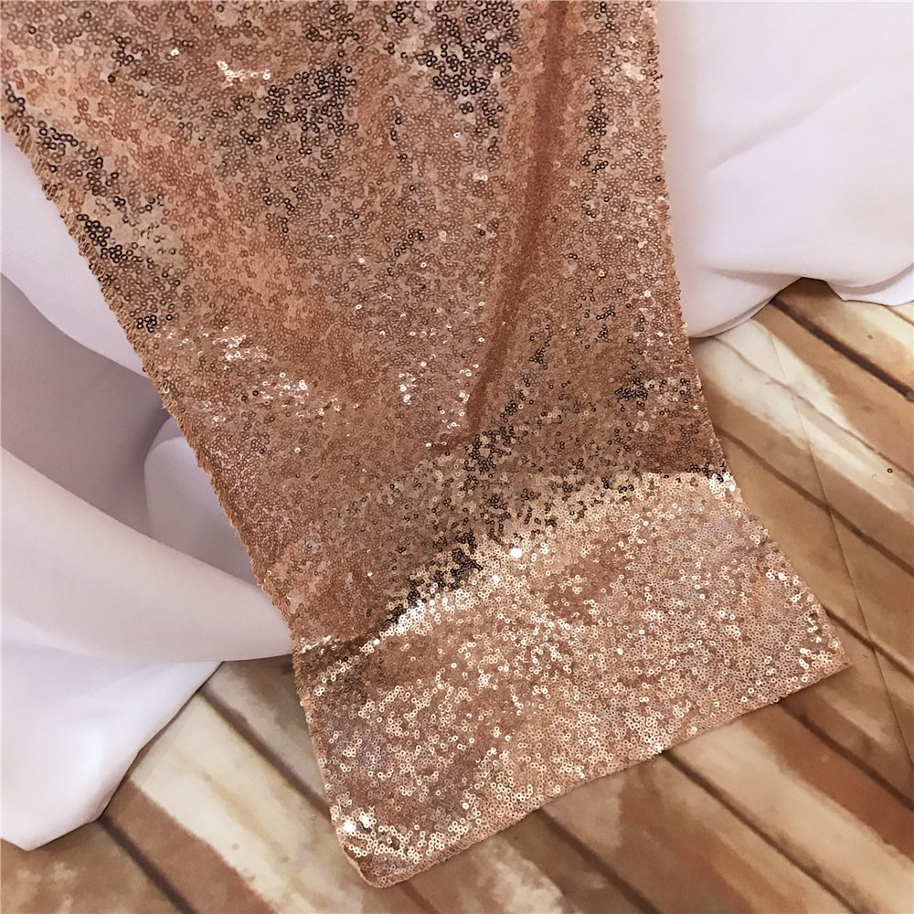 BalsaCircle TRLYC 12 by 60-Inch Rose Gold Wedding Sequin Table Runners for Baby Shower 12x60-Inch