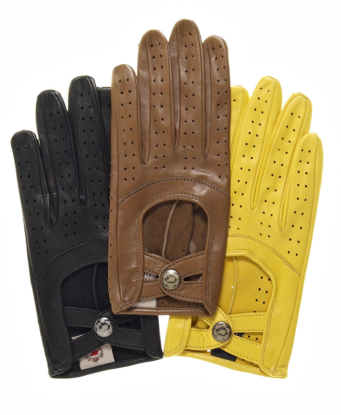 Fratelli Orsini Women's Sporty Italian Leather Driving Gloves Size 7 Color Black