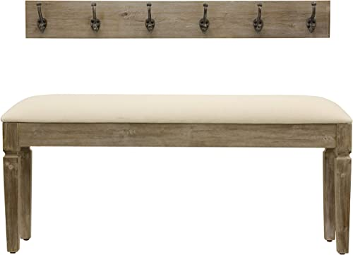 D cor Therapy Waverly Wood Bench with Coat Rack Set, Measures 42×11.8×17.75, Winter White