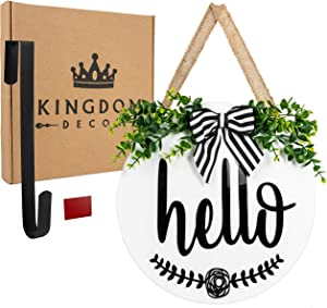 "Kingdom Decor Hello Sign for Front Door. 12"" Hello Door Sign for Front Porch Decor, Front Door Decor, Rustic Door Decor, Housewarming Gifts New Home Decor, Welcome Sign for Front Door, Hello Fall Sign."