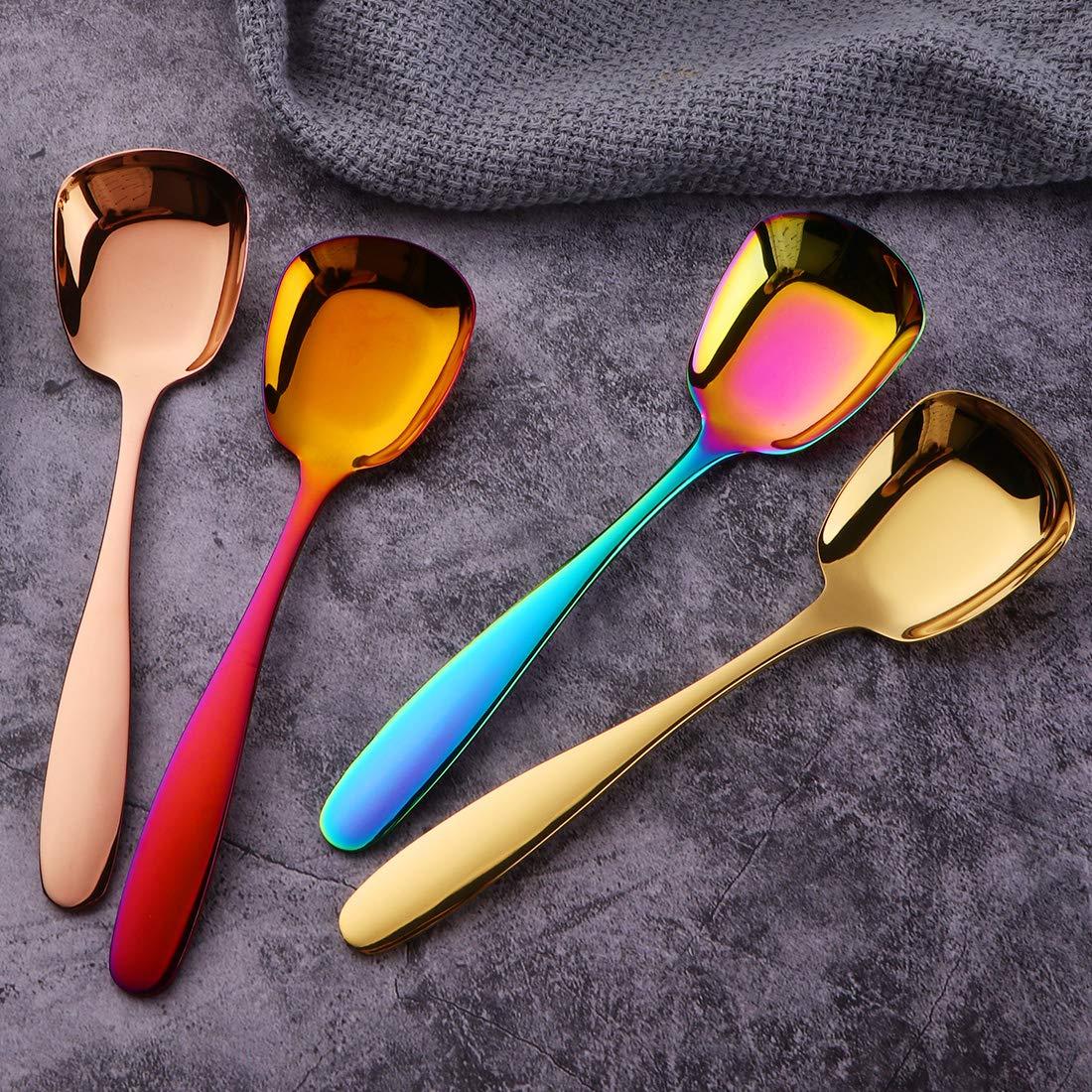 DoBuy Cuill/ères /à Dessert Ensemble de 8 Acier Inoxydable 18//10 et Color/ées Cuill/ères /à Soupe//Cuill/ères /à Caf/é