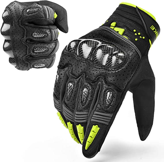 INBIKE Leather Motorcycle Gloves with Carbon Fiber Hard Knuckle Touch Screen for Women Pink Small