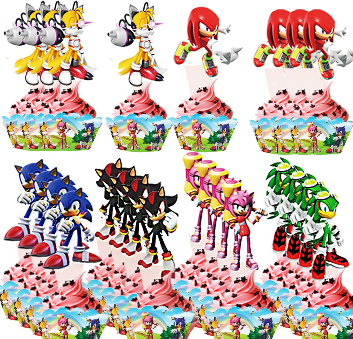 48 Pcs Sonic the Hedgehog Cupcake Decorations - 24 pcs Sonic the Hedgehog Cupcake Toppers and 24 pcs Cupcake Wrappers Sonic the Hedgehog Themed Cake Party Decoration for Kids Birthday Party Supplies Cake Decorations