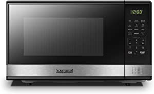 BLACK+DECKER EM031MB11 Digital Microwave Oven with Turntable Push-Button Door, Child Safety Lock, 1000W, 1.1cu.ft, Stainless Steel, 1.1 Cu.ft