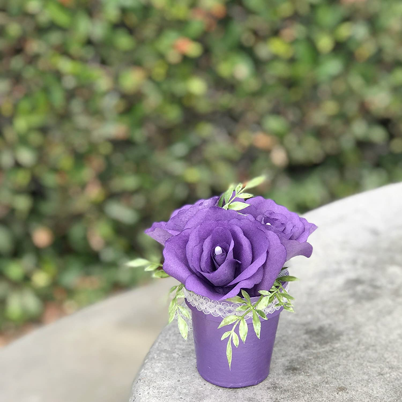 Amazon Com Small Paper Flower Pot Shown In Purple Colors Are