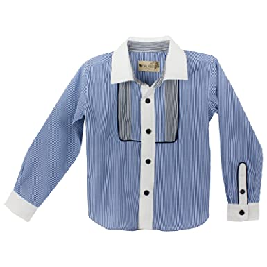 02aefd7098 Coral Forest Little Boys' Cotton Stripe Printed Oxford Button-Down Bib Shirt  Size 4