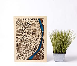 St. Louis Wooden Map Birthday Gift for Man 3D Wooden City Map USA Wall Art St. Louis 3D Wooden Map City Wooden Map Small Scale Map Gift St. Louis Wall Decor Xmas Gift for Girl (Small)
