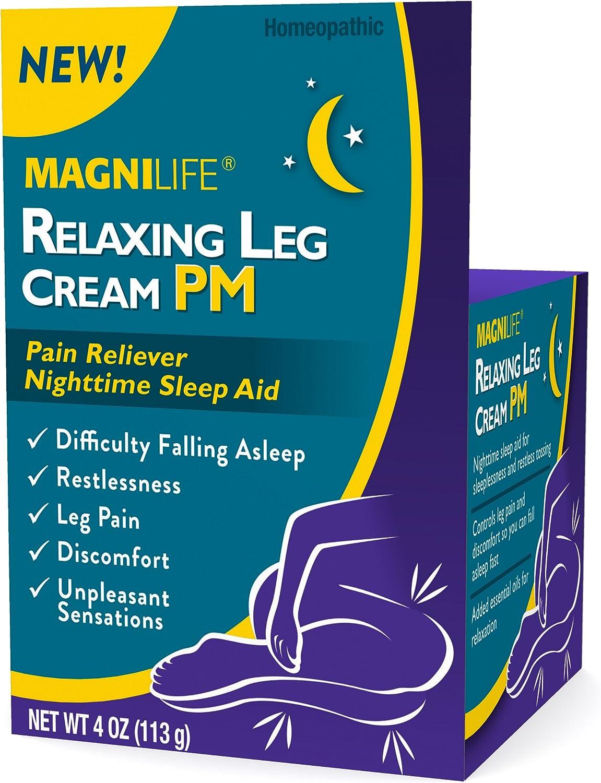 Magnilife Relaxing Leg Cream PM   Nighttime Sleep Aid for Restlessness, Leg Pain, Discomfort