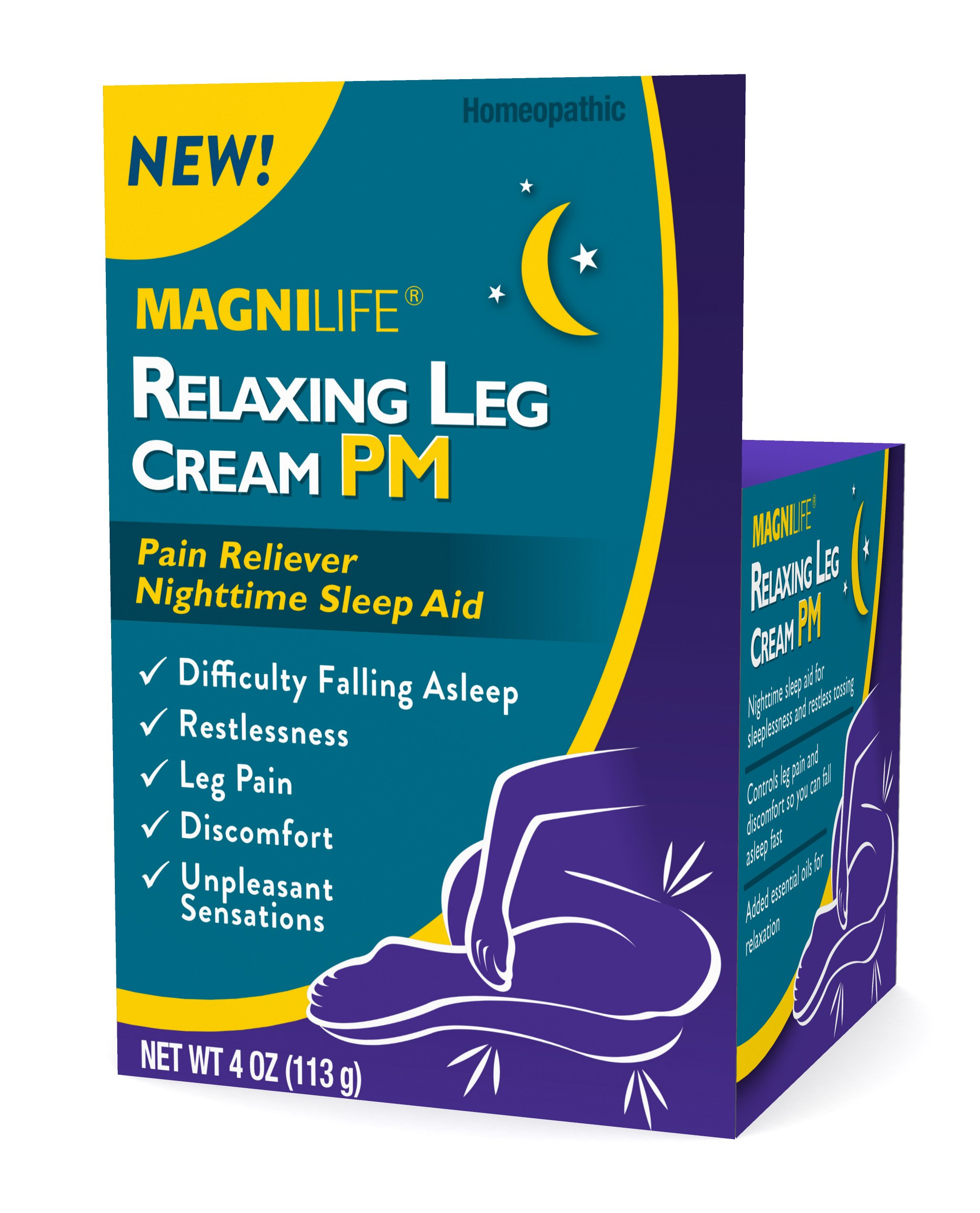 Magnilife Relaxing Leg Cream PM | Nighttime Sleep Aid for Restlessness, Leg Pain, Discomfort