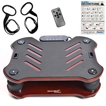 skandika Home Vibration Plate 400 - Plataforma vibratoria - Incl. Bandas de Entrenamiento - Sistema vibración multidirecta - Póster de Entrenamiento ...