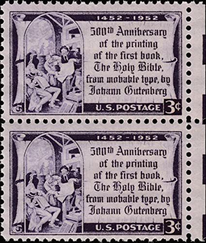 photo about Printable Postage Stamps referred to as : Gutenberg Bible Printing Push #1014 2 x 3 US