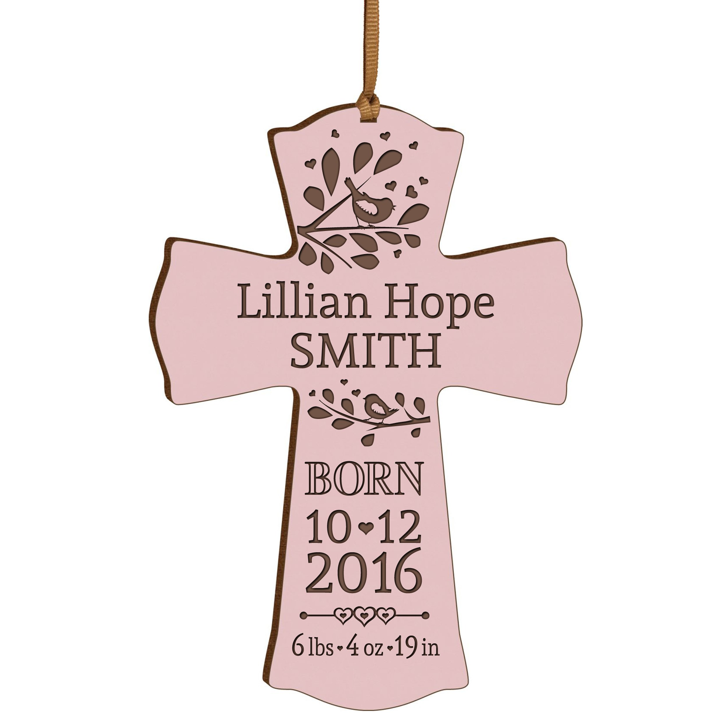 Personalized New Baby birth shower announcement gift ideas for newborn boys and girls Custom engraved wall cross ornament for new mom and dad and grandparents (Pink)